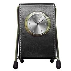 Shiny Metallic Silver Pen Holder Desk Clocks