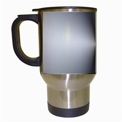 Shiny Metallic Silver Travel Mugs (White)