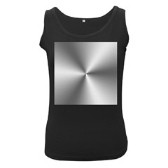 Shiny Metallic Silver Women s Black Tank Top