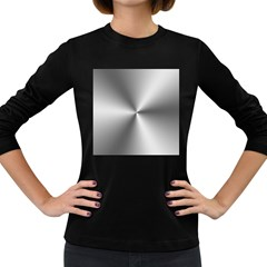 Shiny Metallic Silver Women s Long Sleeve Dark T-Shirts