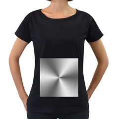 Shiny Metallic Silver Women s Loose-Fit T-Shirt (Black)