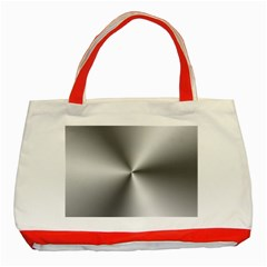 Shiny Metallic Silver Classic Tote Bag (Red)