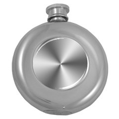 Shiny Metallic Silver Round Hip Flask (5 oz)