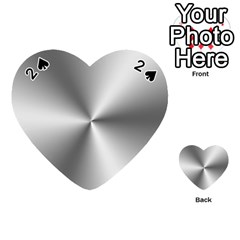 Shiny Metallic Silver Playing Cards 54 (Heart)