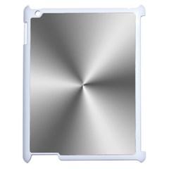 Shiny Metallic Silver Apple iPad 2 Case (White)