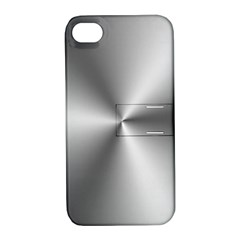 Shiny Metallic Silver Apple iPhone 4/4S Hardshell Case with Stand