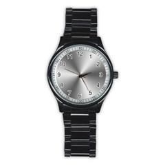 Shiny Metallic Silver Stainless Steel Round Watch