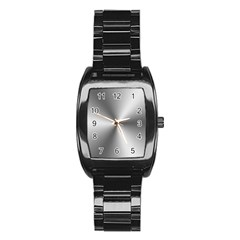 Shiny Metallic Silver Stainless Steel Barrel Watch