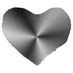 Shiny Metallic Silver Large 19  Premium Flano Heart Shape Cushions
