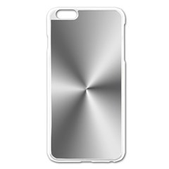 Shiny Metallic Silver Apple iPhone 6 Plus/6S Plus Enamel White Case