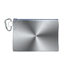 Shiny Metallic Silver Canvas Cosmetic Bag (M)