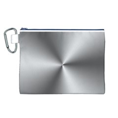 Shiny Metallic Silver Canvas Cosmetic Bag (L)