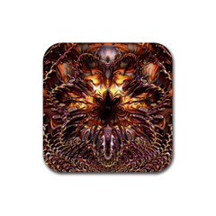 Golden Metallic Abstract Flower Rubber Coaster (Square)
