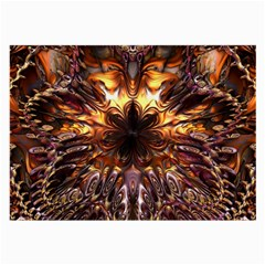 Golden Metallic Abstract Flower Large Glasses Cloth (2-Side)