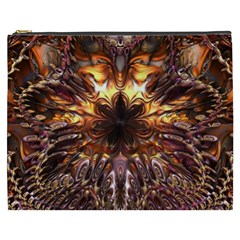 Golden Metallic Abstract Flower Cosmetic Bag (xxxl)