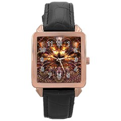 Golden Metallic Abstract Flower Rose Gold Leather Watch