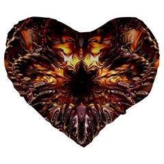 Golden Metallic Abstract Flower Large 19  Premium Flano Heart Shape Cushions