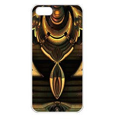 Golden Metallic Geometric Abstract Modern Art Apple iPhone 5 Seamless Case (White)