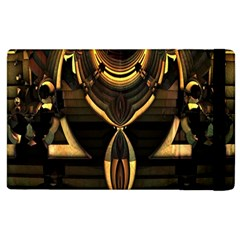 Golden Metallic Geometric Abstract Modern Art Apple iPad 3/4 Flip Case