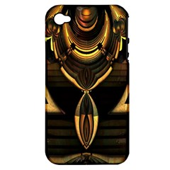 Golden Metallic Geometric Abstract Modern Art Apple Iphone 4/4s Hardshell Case (pc+silicone)