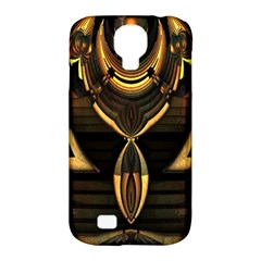 Golden Metallic Geometric Abstract Modern Art Samsung Galaxy S4 Classic Hardshell Case (pc+silicone)