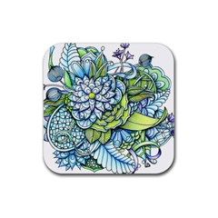 Peaceful Flower Garden 1 Rubber Coaster (square)