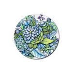 Peaceful Flower Garden 1 Rubber Coaster (Round) Front