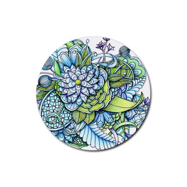 Peaceful Flower Garden 1 Rubber Coaster (Round)
