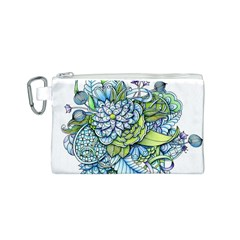 Turquoise Damask Pattern Canvas Cosmetic Bag (S)