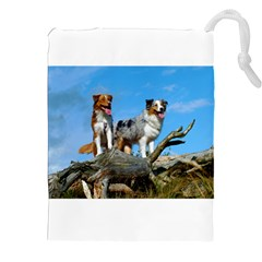 2 Australian Shepherds Drawstring Pouches (XXL)