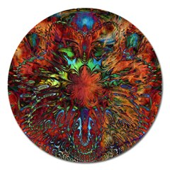 Boho Bohemian Hippie Floral Abstract Magnet 5  (round)