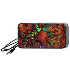 Boho Bohemian Hippie Floral Abstract Portable Speaker (Black)