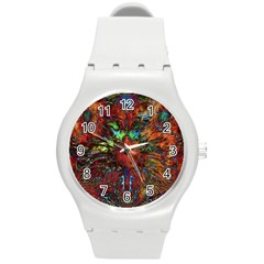 Boho Bohemian Hippie Floral Abstract Round Plastic Sport Watch (M)