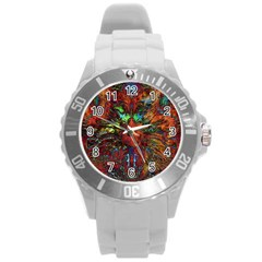 Boho Bohemian Hippie Floral Abstract Round Plastic Sport Watch (L)