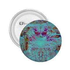 Retro Hippie Abstract Floral Blue Violet 2 25  Buttons