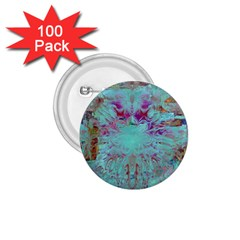 Retro Hippie Abstract Floral Blue Violet 1.75  Buttons (100 pack)
