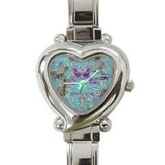 Retro Hippie Abstract Floral Blue Violet Heart Italian Charm Watch
