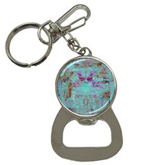 Retro Hippie Abstract Floral Blue Violet Bottle Opener Key Chains