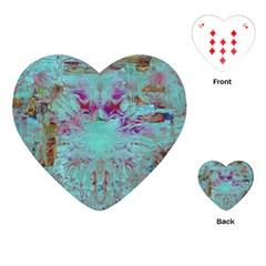 Retro Hippie Abstract Floral Blue Violet Playing Cards (heart)