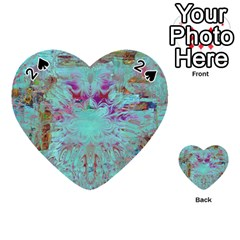 Retro Hippie Abstract Floral Blue Violet Playing Cards 54 (heart)