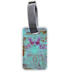 Retro Hippie Abstract Floral Blue Violet Luggage Tags (Two Sides)