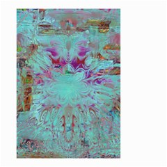 Retro Hippie Abstract Floral Blue Violet Small Garden Flag (Two Sides)