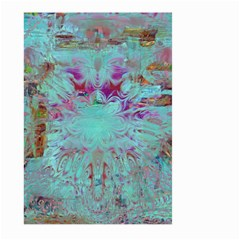 Retro Hippie Abstract Floral Blue Violet Large Garden Flag (Two Sides)