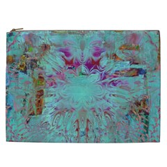 Retro Hippie Abstract Floral Blue Violet Cosmetic Bag (XXL)