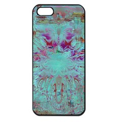 Retro Hippie Abstract Floral Blue Violet Apple iPhone 5 Seamless Case (Black)