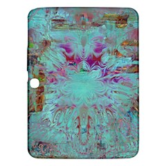 Retro Hippie Abstract Floral Blue Violet Samsung Galaxy Tab 3 (10.1 ) P5200 Hardshell Case