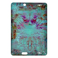 Retro Hippie Abstract Floral Blue Violet Amazon Kindle Fire HD (2013) Hardshell Case
