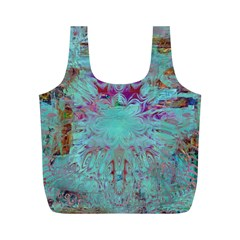 Retro Hippie Abstract Floral Blue Violet Full Print Recycle Bags (m)