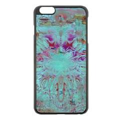 Retro Hippie Abstract Floral Blue Violet Apple iPhone 6 Plus/6S Plus Black Enamel Case