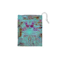 Retro Hippie Abstract Floral Blue Violet Drawstring Pouches (xs)